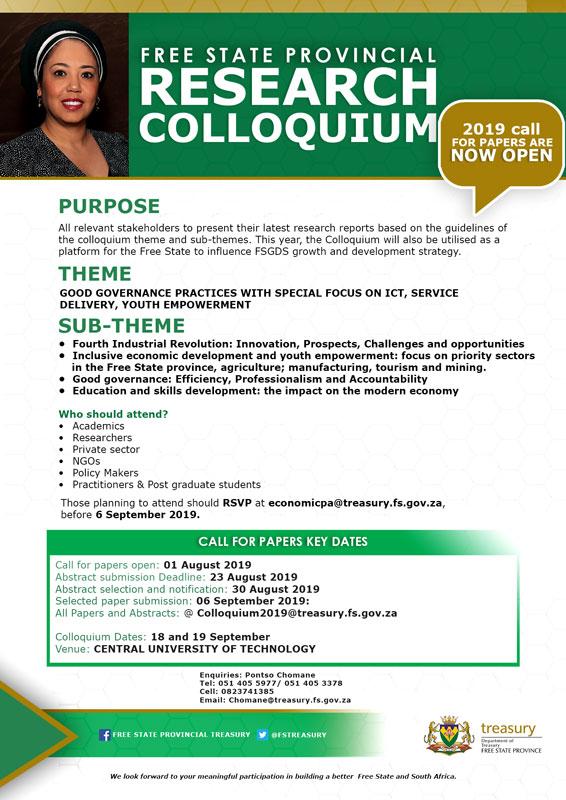 Free State Provincial Research Colloquium 2019